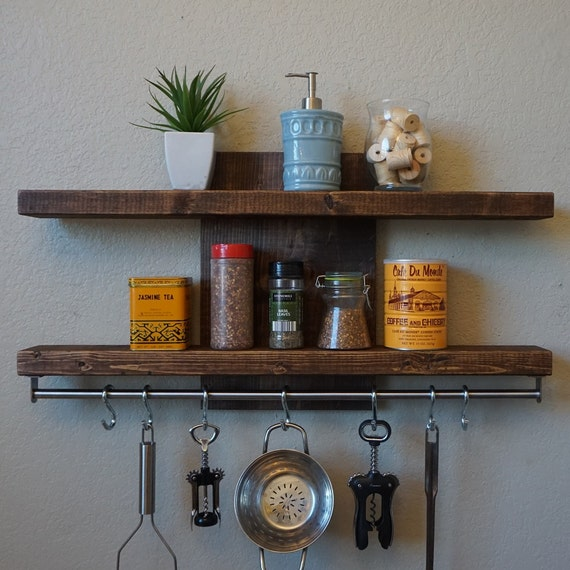 Industrial Rustic Kitchen Shelf Spice Rack W/ 30 Pot By