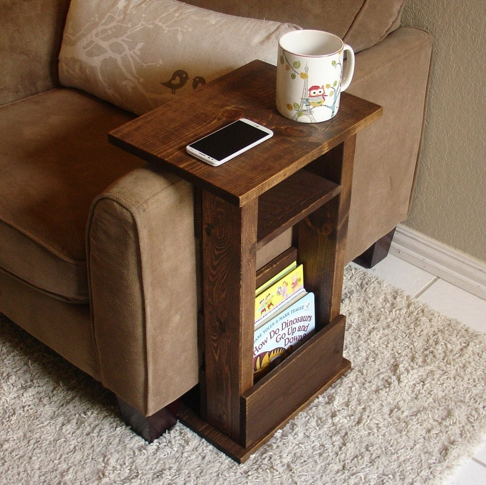 Sofa chair arm rest table stand ii with shelf and storage for Sofa side table designs