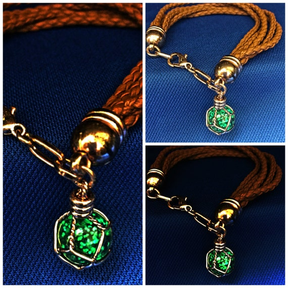 Glow Bracelet with UV Torchlight Included Glow in the Dark Jewelry Glowing Pendant Green Glow Multi-Layered Brown Braided Leather Gift