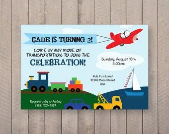 Transportation Birthday Invite - 5x7