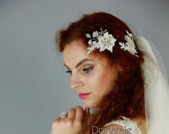 Wedding Hair Flower, Wedding Hair Piece, Bridal Headpiece, Bridal hair Flowers, Bridal Hair Piece, Opal headpiece,Bridal hair clip-ALYSSA