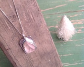 Kunzite Silver Pendant pink natural surface OOAK necklace
