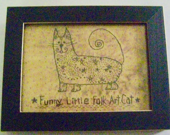 "Primitive Folk Art FRAMED ""Funny Little Folk Art Cat"" - Copyright Lithograph Print of Original Primitive Folk Art Cat Stitchery"