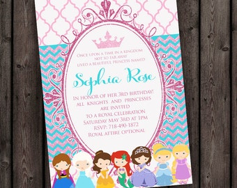 Princess Invitation, pink teal pink glitter, FAST ship, FREE wording customization included, digital file, royal princess party invitation