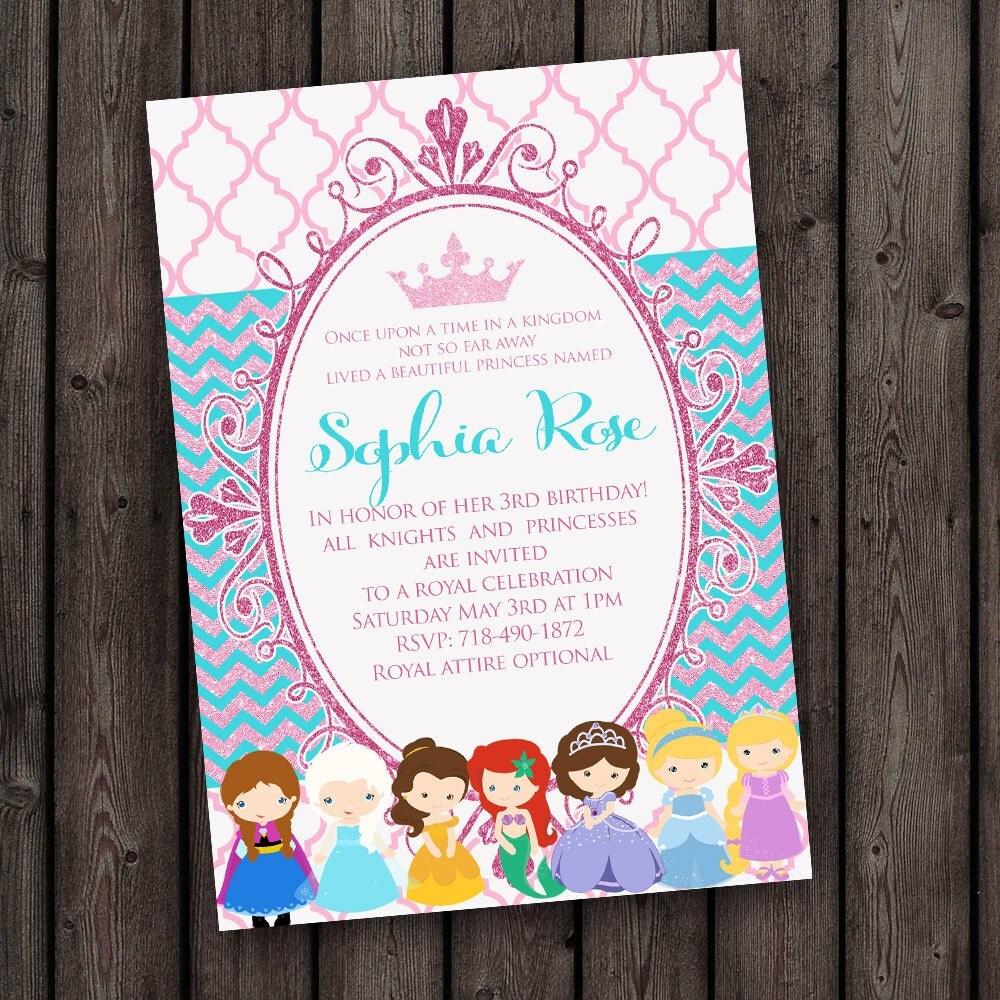 Princess Invitation pink teal pink glitter FAST ship FREE