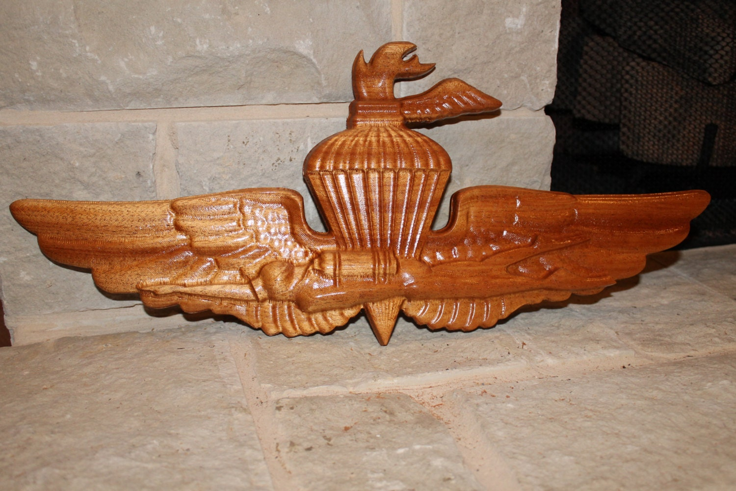 Marine recon girlfriend carved wood corps