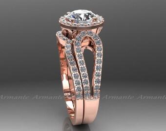 Rose Gold Moissanite Engagement Rings, 1 Carat Forever One Moissanite, Natural Diamonds Filigree Ring, White Gold Wedding Ring Set