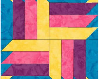 Spinning Four 15 Inch Block Paper Template Quilting Block Pattern PDF