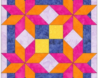 Four Stars Bordered Paper Piece Templates Quilting Block Pattern PDF