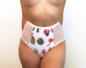 SALE Cheeky Cactus Knicker- High Waisted, Cotton Jersey, Mesh