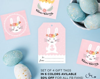Happy Easter Gift Cards Printable | Easter Gift Tags | Happy Easter Tags | Cute Floral Bunny Tags | Easter Labels | Bunny Cards |