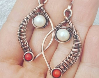Copper coral earrings with pearl,  copper wire earrings, wire pearl earrings, red coral jewelry handmade copper earrings pearl coral earring