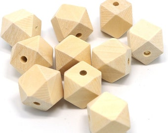 20mm Geometric unfinished wooden beads