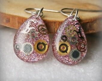 Resin teardrop  Steampunk  earrings  ,  Resin Jewelry , Resin Steampunk  Jewelry , resin earrings