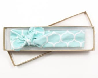 Organic Cotton Knotted Headband/ Infant Headband/ Toddler Headband/ Mint Blue Geometric Headband