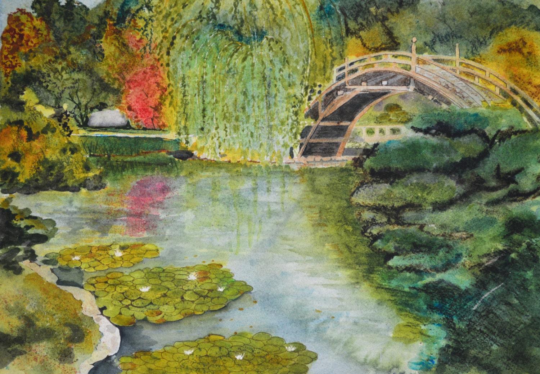 Japanese garden oriental watercolor painting original fine art for Japanese watercolor paintings