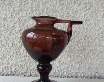 Design purple glass candle holder , BIOT design, made in france, south of france vintage 1970