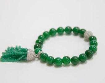 Green Garnet with cz's Bracelet
