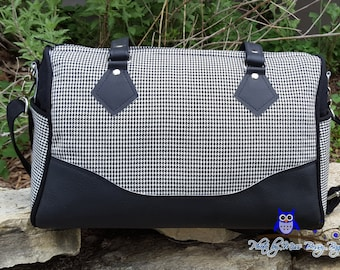 SALE: Handmade Blanche Barrel Bag, Houndstooth Barrel Bag, Swoon Blanche Handbag, Medium Size, Ready to Ship