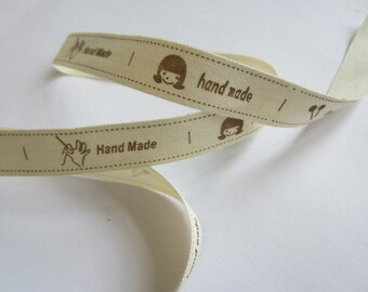 "Printed Ribbon - ""hand made"" - width 15 mm"