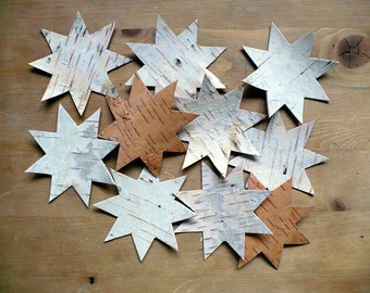 Stars from birch bark - tag. Package of 10. Christmas star. Home Decor