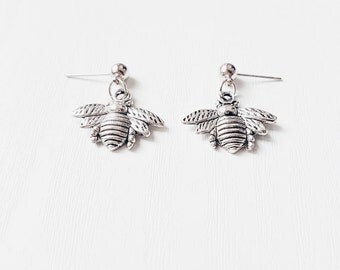 Silver Bee Earrings | Boho Jewelry | Bee Jewellery | Gift