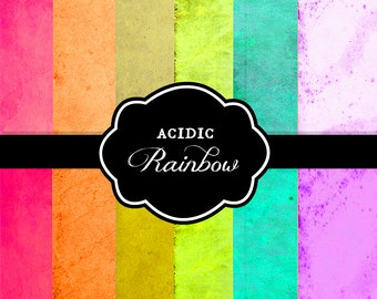 Acid Rainbow Distressed Papers Aged Vintage Hot Old Bright Antique Paper Pack