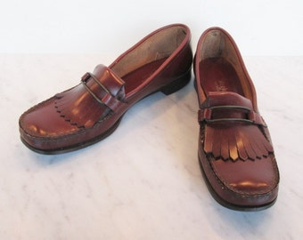 60's-70's Bass Weejuns kiltie Loafers Womens Oxblood Preppy slip ons size 9-9 1/2