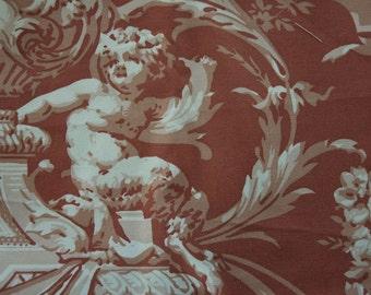 Home Dec Fabric with Rococo Cherub, Satyr, and Flower Deisgn