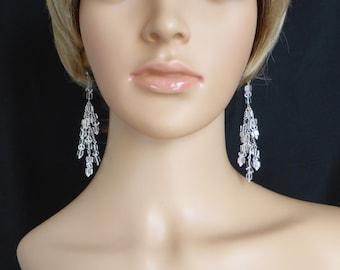Crystal quartz chandelier earrings