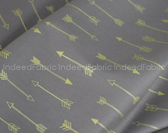 15% Off // Coin Arrows- Arrow Flight Collection, Michael Miller Fabrics, Metallic Gold Print, Quilting Weight Cotton Fabric