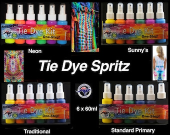 """Spritz Tie Dye Kit Spritz Uv Neon Spritz Tye Dying Inks 6 x 60ml Neon Tie Dye  """" FREE POSTAGE """""""