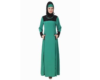 MyBatua Rihab Bottle Green Abaya, Jilbab, Crepe, Beautifull High Fashion Long Muslim Woman Gown Look Islamic Kaftan Jalabiya Maxi AY-435