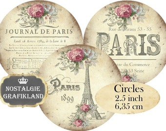 Paris French Circle 2.5 inch Eiffel Tower Fleur de Lis Louvre Shabby Chic Instant Download digital collage sheet C164