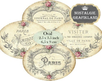 Oval 3.5 x 2.5 inch French Paris Ephemera Ornament Instant Download digital collage sheet O141