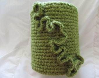 Up-cycled Tin Can with crocheted decorative cover