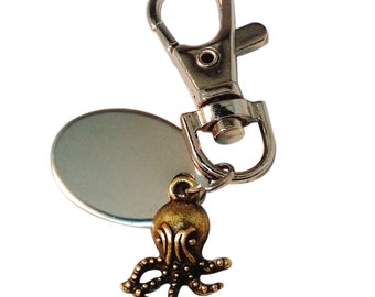Custom Engraved / personalised mini octopus keyring with gift pouch - pl250