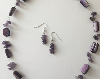 Purple Rain Necklace and Earrings Set