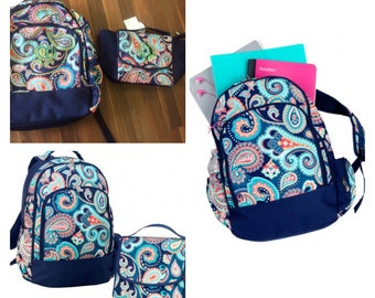 Blue Paisley Backpack and Lunch Bag
