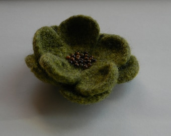 Earthy Green Flower Pin tiger's eye beads handmade felted--for coat, hat, or tote--4 in.