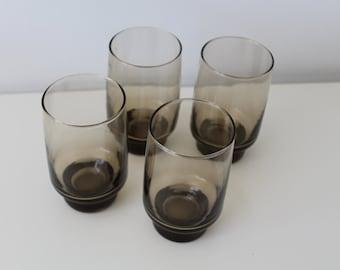 Four Retro Vintage Glasses Smokey Brown Glass