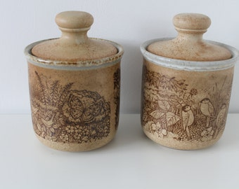 Pair of Stoneware Lidded Storage Containers Pots Ceramic