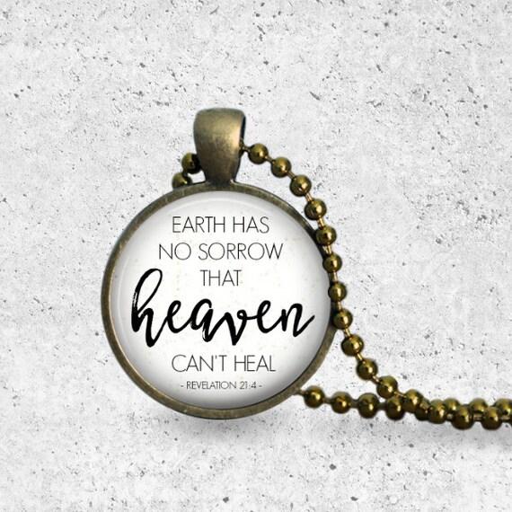 Grief Gift, Earth Has No Sorrow, Revelation 21 4, Miscarriage Necklace, Teardrop, Christian Necklace, Scripture Pendant, Bronze Pendant