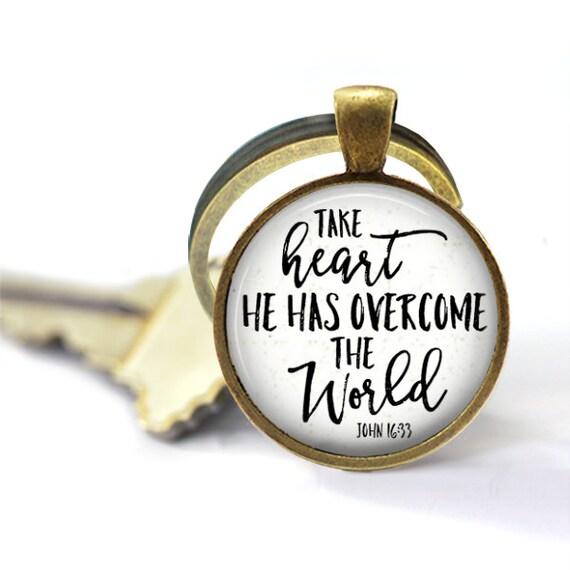John 16 33, Take Heart, Key Chain, He Has Overcome The World, Bible Verse Jewelry, Christian Quote, Keychain, Inspirational Keyring, Cross