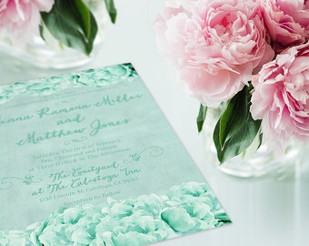 Mint Green Wedding Invitations w/ RSVP Cards for Shabby Chic Weddings / Peonies / PRINTED Wedding Invites 6x9 /  Wedding Suite / Wedding Set