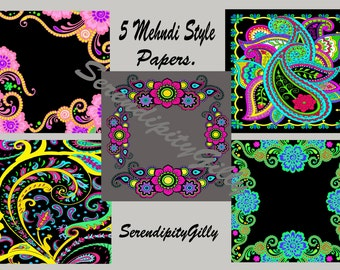 5 Mehndi Style Papers (8 x 8 inches.) DOWNLOAD