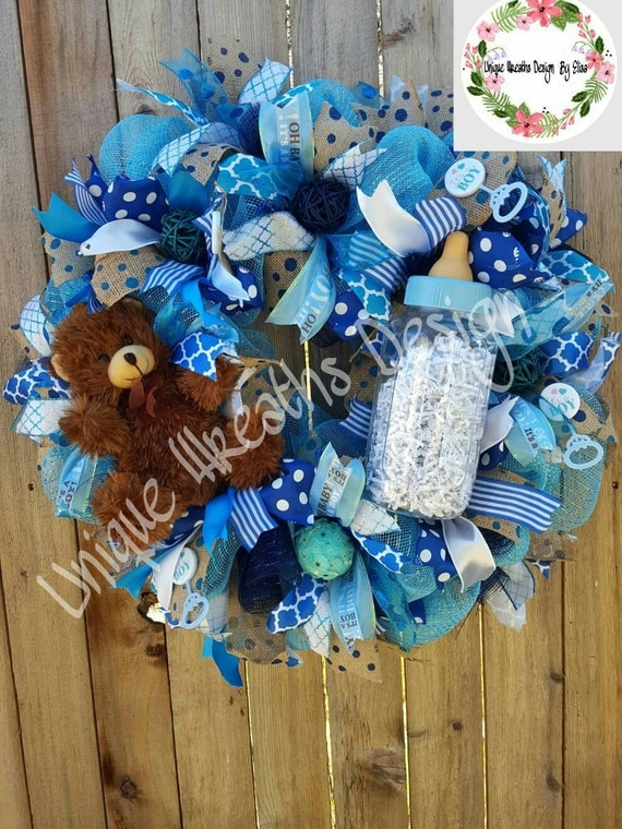 Baby boy wreath baby shower decorations baby boy door for Baby hospital door decoration