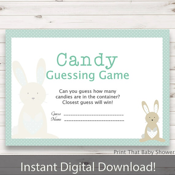 Baby Shower Games   Candy Guessing Game   Bunny And Stork Baby Shower    Bunny Shower Games   Guess How Many Candies   Blue Bunny And Stork
