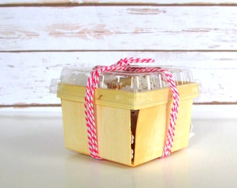 80 Pint Wood Berry Baskets and Lids, Wedding Favor Wooden Baskets, Farm Theme Birthday Party Favors