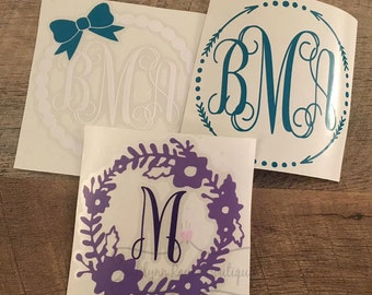 Decal- Monogram Decal Pack- Decal Set of 3- Car Decal- Personalized Decal- Laptop Stickers- Custom Stickers- Yeti Decal